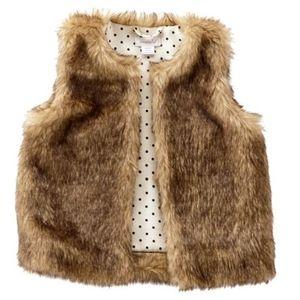 Girls toddler 2T-3T mud pie brown faux fur vest